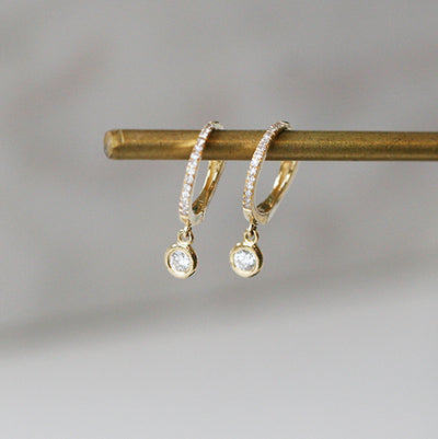DIAMOND DROP PAVE HOOPS