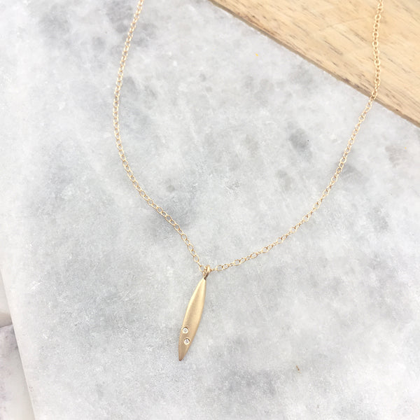 Elongated Marquise Blade Necklace with Diamonds by Victoria Cunningham
