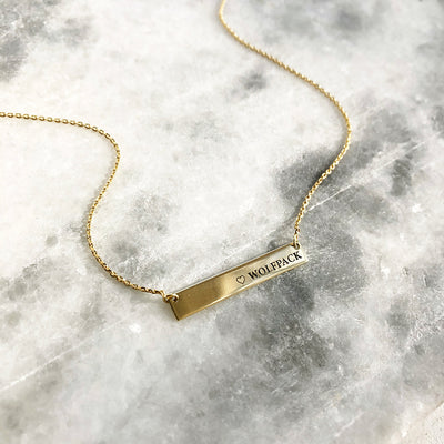 Gold Bar Necklace engraved with WOLFPACK