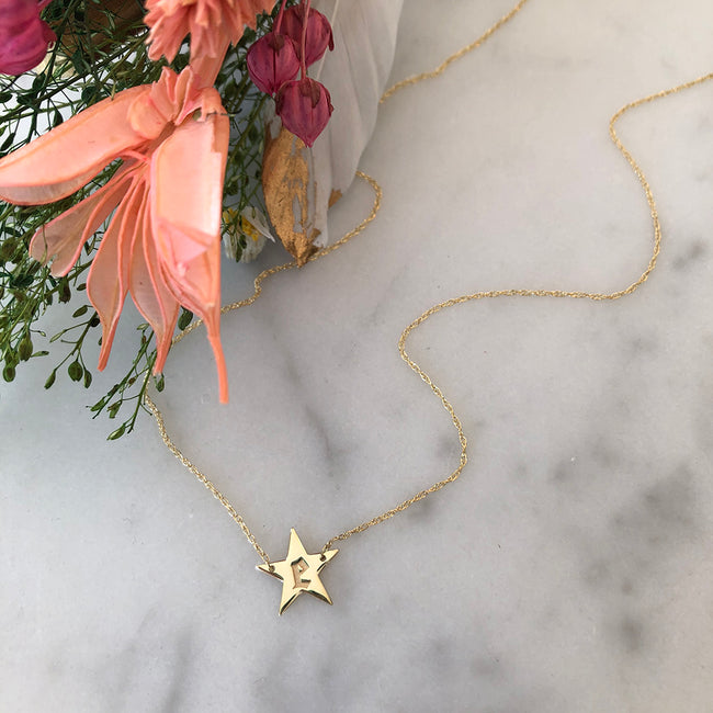 Gold Star Necklace with E initial