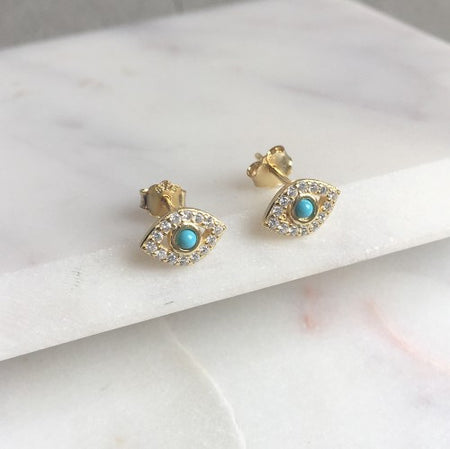 ROUND WHITE TOPAZ CLUSTER EARRINGS