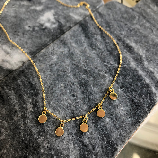 Five Gold Discs Station Necklace