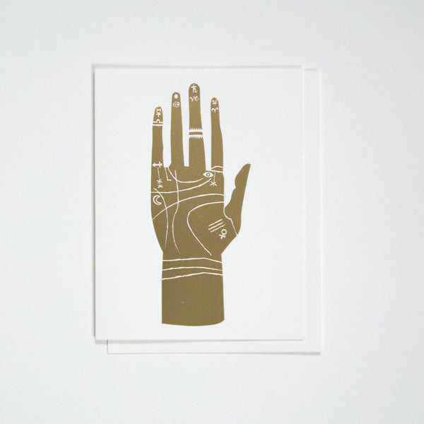 PALMISTRY HAND GOLD CARD - katie diamond jewelry