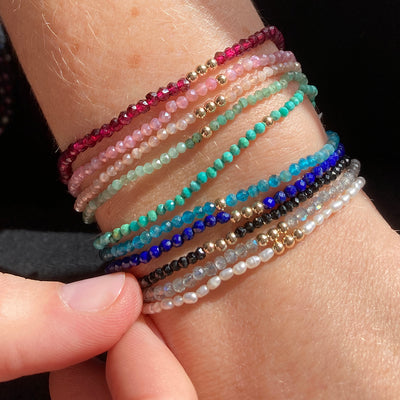 Gemstone Beaded Bracelets with Gold Beads