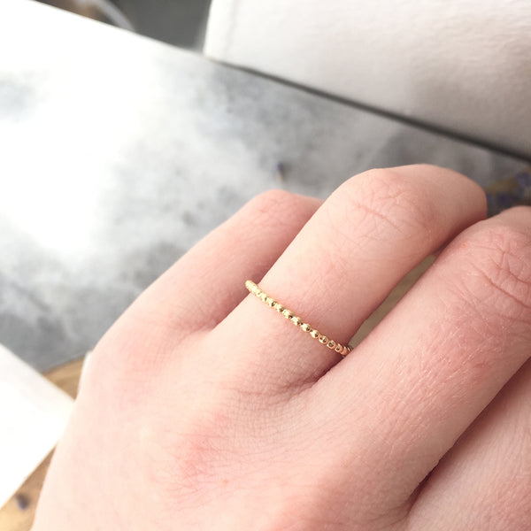 GOLD BEAD STACKER RING