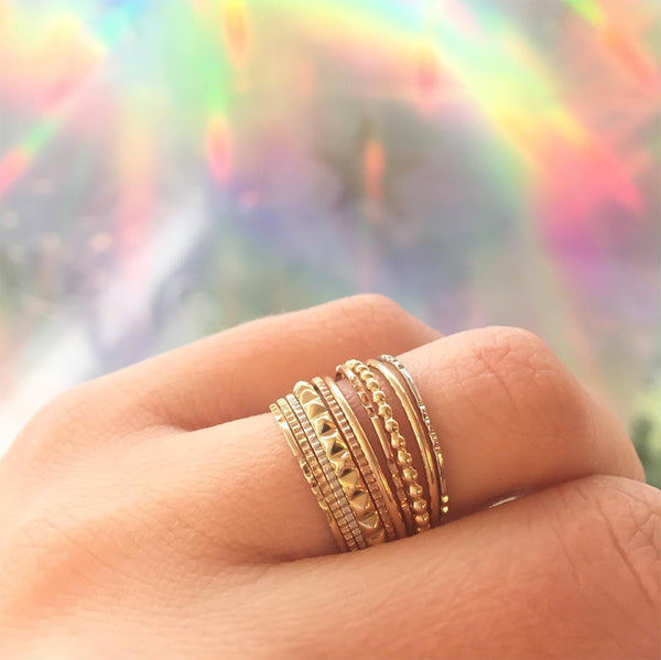 Stack of Thin Gold Textured Rings