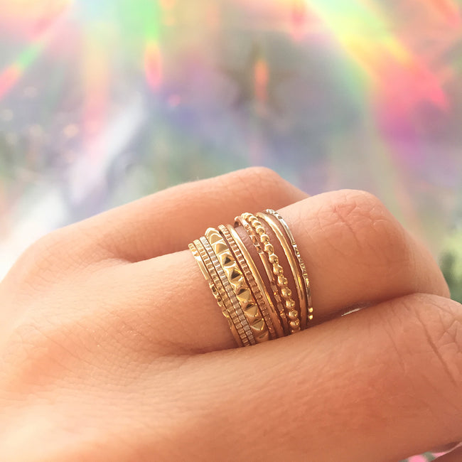 THE GOLDEN WHISPER STACKING RING