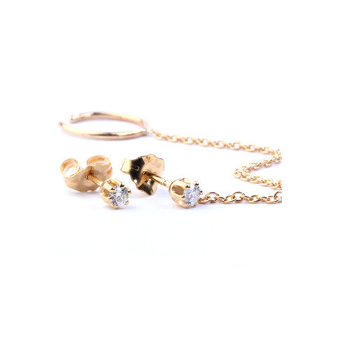 GRETTA CHAIN STUD EARRINGS - katie diamond jewelry