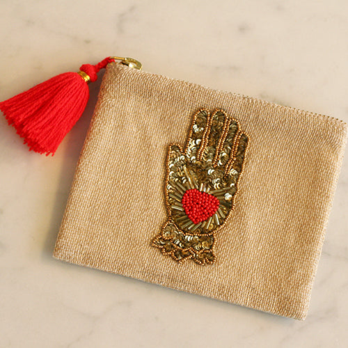 RED HAMSA BEADED POUCH