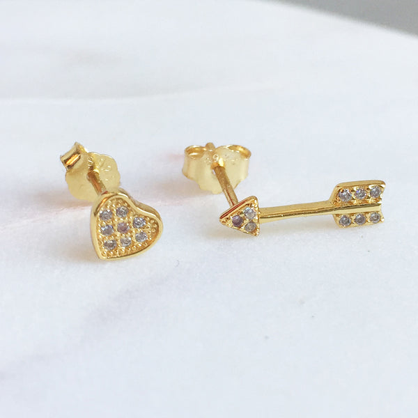 HEART & ARROW CZ STUD SET