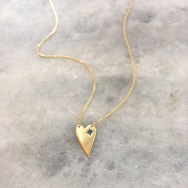 ELONGATED HEART WITH BLUE ENAMEL NECKLACE