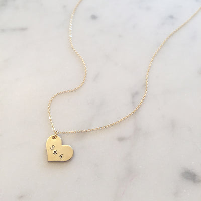 Sideways Heart Necklace with Name or Initials