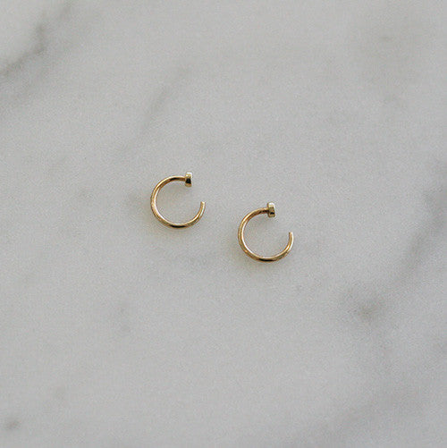 Simple Plain Gold Huggie Hoop Earrings