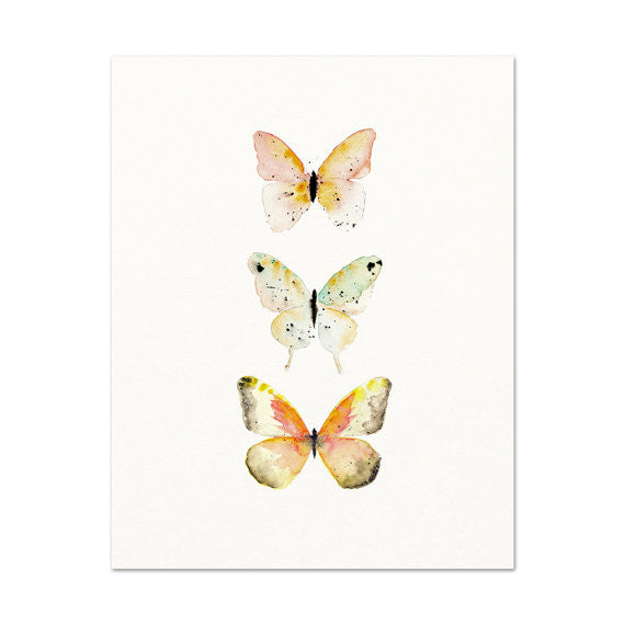 SOFT PINK PASTEL WATERCOLOR BUTTERFLY PRINT