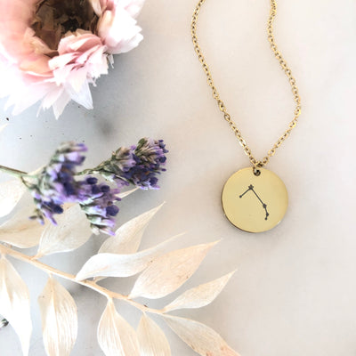 Zodiac Constellation Disc Pendant Necklace