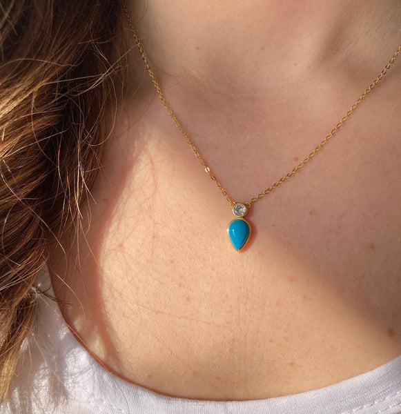 PERFECT PEAR TURQUOISE PENDANT NECKLACE