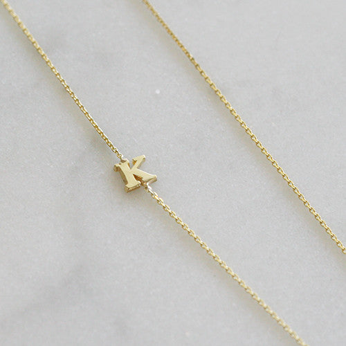 Tiny Gold Letter Initial Necklace