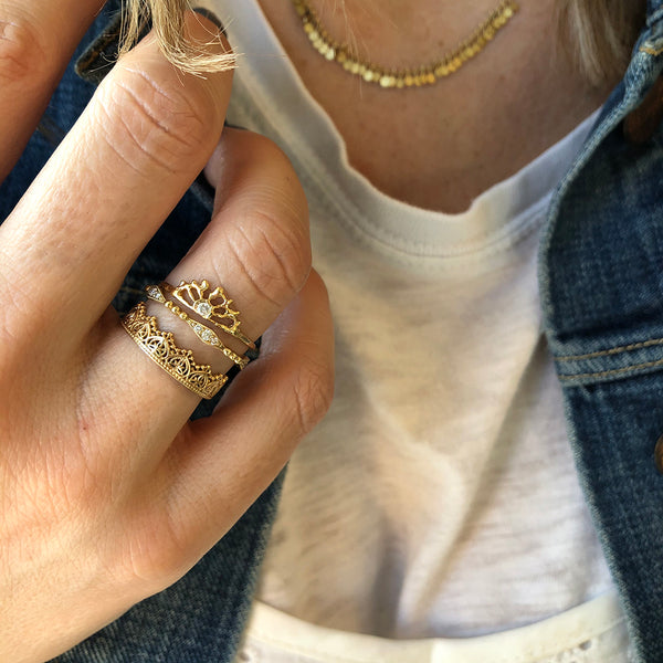 Gold Jewelry Styled Sia Taylor Misa Jewelry Sunrise Ring Naomi Lace Ring