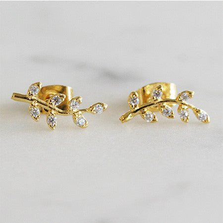CZ BRANCH STUDS - katie diamond jewelry