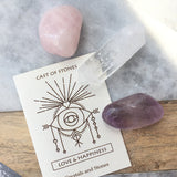 LOVE & HAPPINESS STONE SET - ROSE QUARTZ, AMETHYST & CRYSTAL QUARTZ