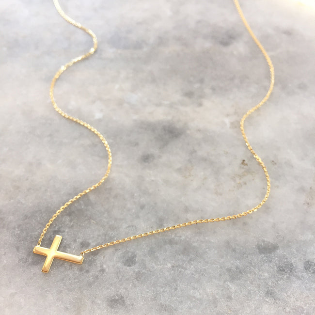 MINI SIDEWAYS CROSS NECKLACE