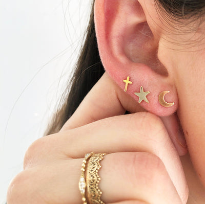 Cross Star and Crescent Moon Stud Earring