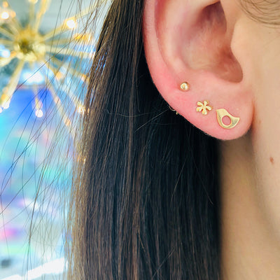Tiny Gold Ball Stud, Tiny Gold Flower Stud, Tiny Gold Bird Stud Earring