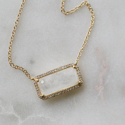 MOONSTONE & DIAMOND NECKLACE