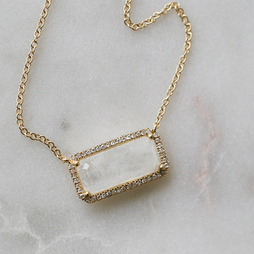 MOONSTONE & DIAMOND NECKLACE - katie diamond jewelry