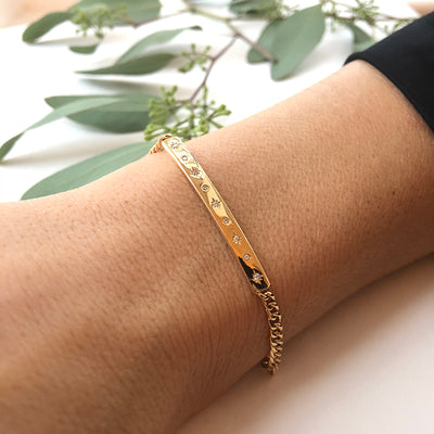 Gold ID Bracelet with Star Set Diamonds and Curb Chain