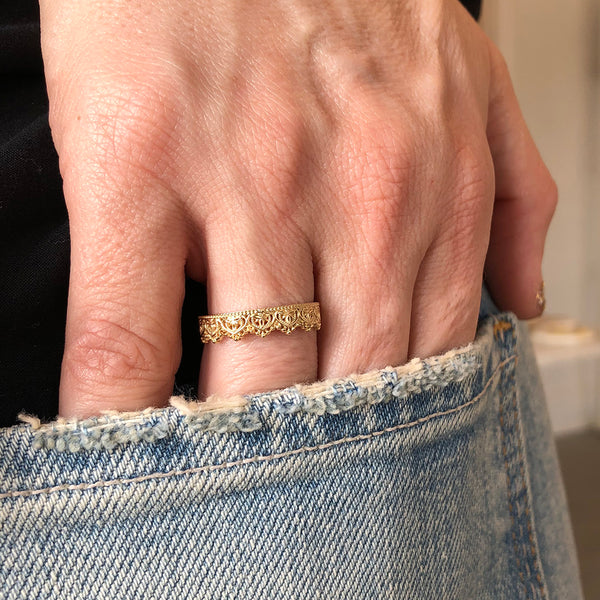 Lace Crown Tiara Gold Eternity Band Ring