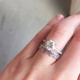Naomi Gold Crown Lace Eternity Band with Solitaire Engagement Ring