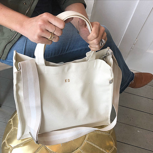 NATURAL MAGAZINE TOTE WITH GOLD GLITTER MICRO MONOGRAM - katie diamond jewelry