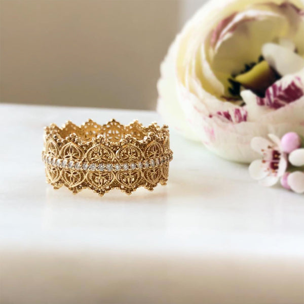Intricate Gold Lace and Diamond Eternity Band
