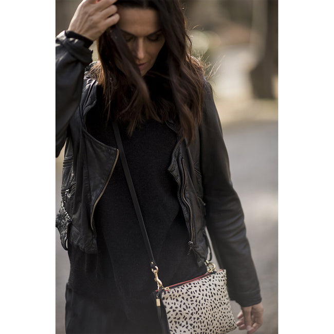 NOTTINGHAM DOUBLE ZIP CROSSBODY IN CHEETAH