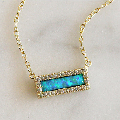 OPAL BAR NECKLACE WITH CZ HALO