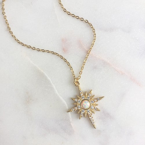 Opal Starburst CZ Diamond Necklace