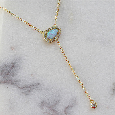 ORGANIC OPAL Y NECKLACE - katie diamond jewelry