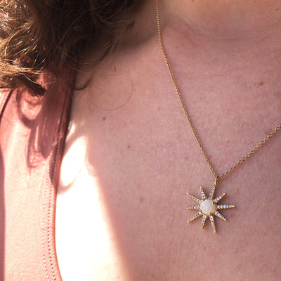 Opal and Diamond Starburst Necklace