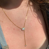 Organic Opal Y Lariat Necklace