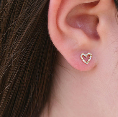 DIAMOND OPEN HEART STUDS
