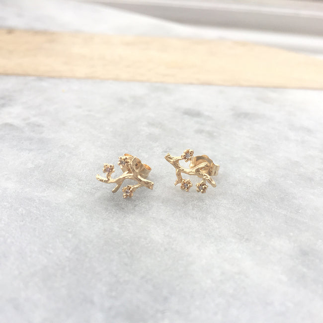 Organic Textured Branch Diamond Earrings Victoria Cunningham