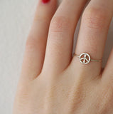 SILVER PEACE SIGN RING WITH DIAMONDS