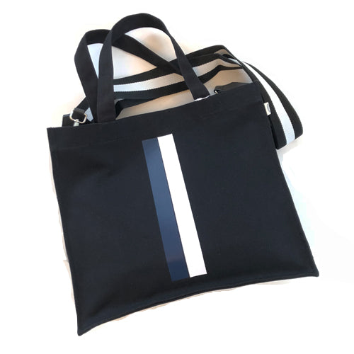 BLACK STRIPED MAGAZINE TOTE - katie diamond jewelry