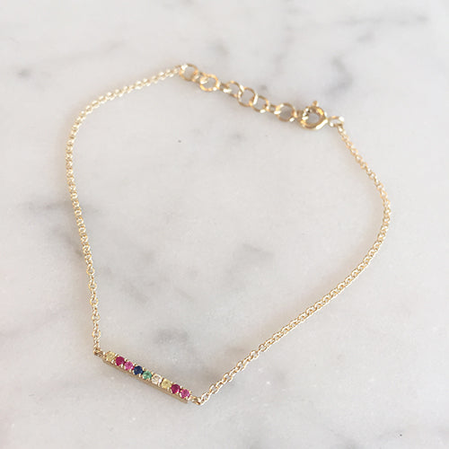 RAINBOW BAR BRACELET - katie diamond jewelry