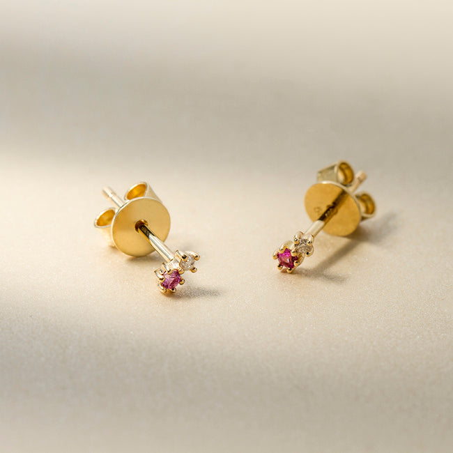 RAIN DROP PINK SAPPHIRE STUD EARRINGS