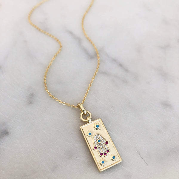 Rectangle Turquoise and Ruby Hamsa Pendant Necklace