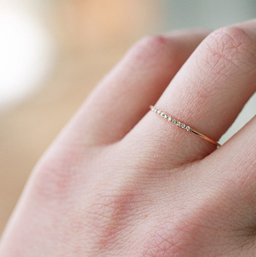Gold and Diamond Thin Stacking Ring