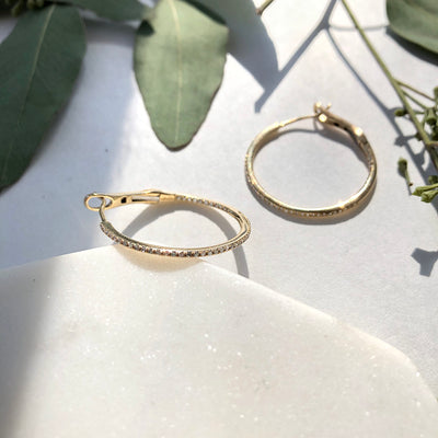 Round Pave Diamond Hoop Earrings