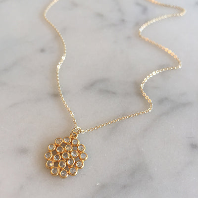 WHITE TOPAZ CLUSTER NECKLACE - katie diamond jewelry